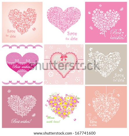 Arrival cards with hearts  - stock vector