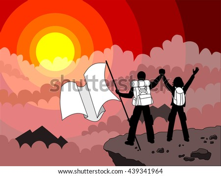 Arrived on top of the destination illustration and backpack emphasized. Couple on top of a mountain with panoramic view in sunset, waving a flag and carrying backpacks - stock vector