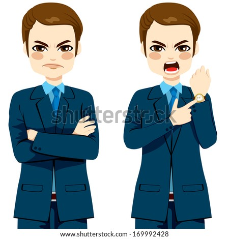 Arriving late concept, angry businessman pointing finger to his wristwatch showing the time and yelling - stock vector