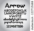 Arrow Alphabet A through Z, upper and lower case, numbers - stock photo