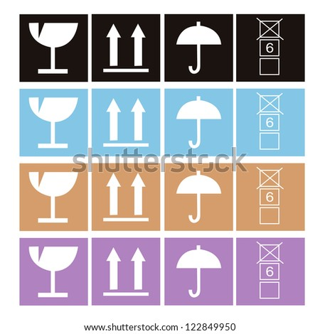 arrow and hands box signs vector illustration - stock vector