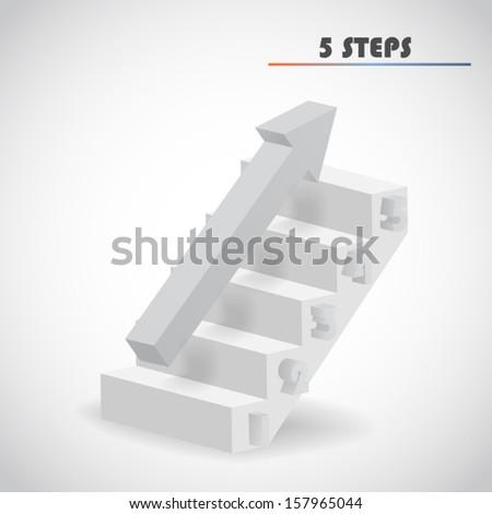 arrow and staircase 3d vector - stock vector