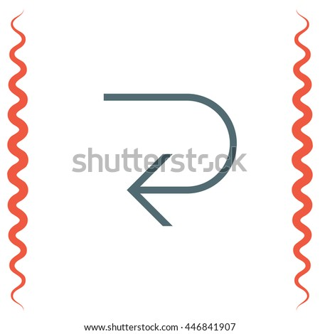 Arrow back left sign line vector icon. Direction sign line icon.