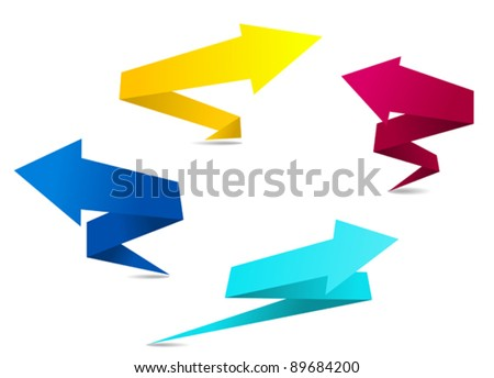 Arrow banners in origami style for web design. Jpeg version also available in gallery - stock vector