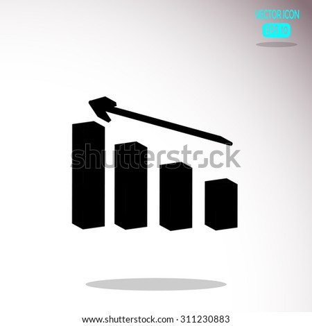 Arrow Bar Graph Vector Icon