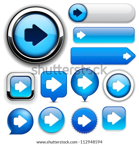 Arrow blue design elements for website or app. Vector eps10. - stock vector