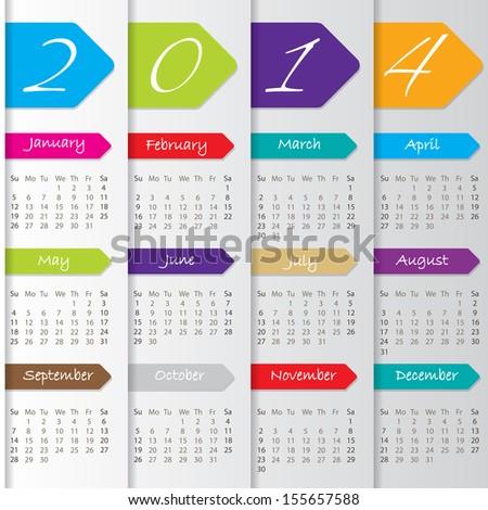 Arrow calendar design for the year 2014 - stock vector
