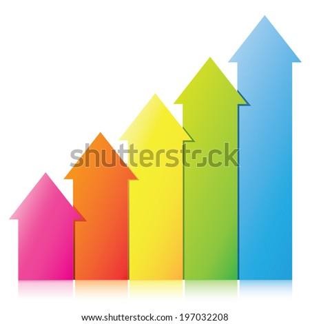 arrow chart, business chart - stock vector