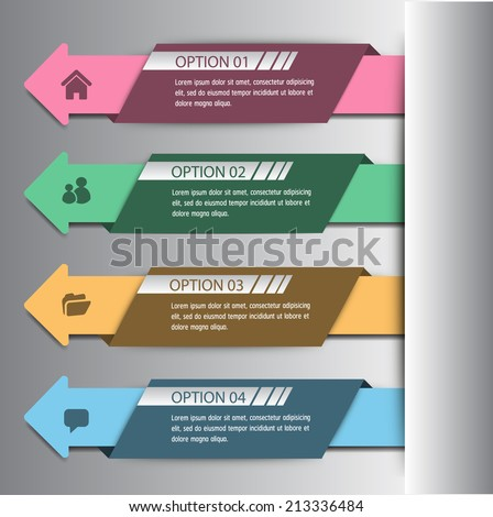 arrow colorful modern text box template for website and graphic, numbers. - stock vector
