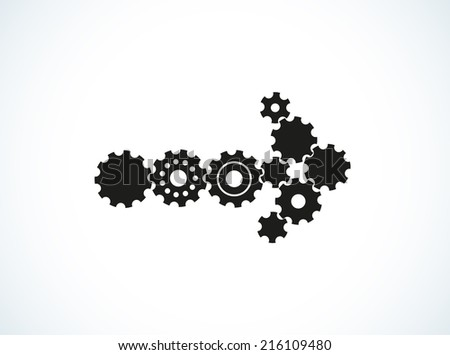 arrow created from few cogwheels of different shape and size - stock vector