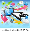 Arrow cursor ,cloud computing,internet,business set - stock photo