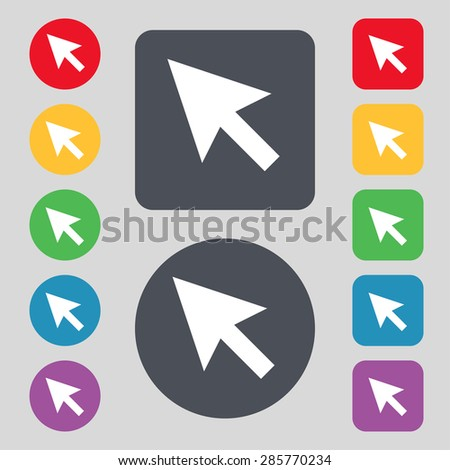 arrow cursor, computer mouse icon sign. A set of 12 colored buttons. Flat design. Vector illustration - stock vector