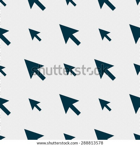 arrow cursor, computer mouse icon sign. Seamless pattern with geometric texture. Vector illustration - stock vector