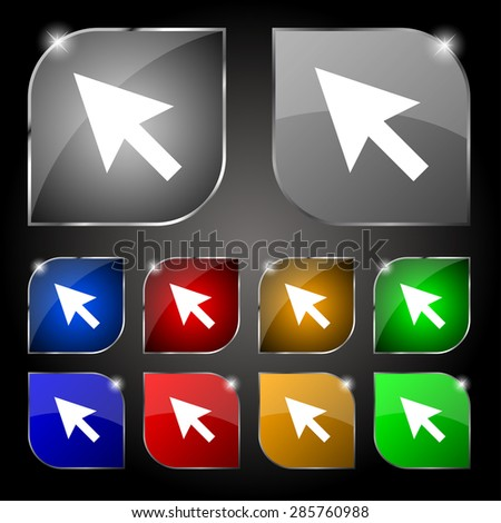 arrow cursor, computer mouse icon sign. Set of ten colorful buttons with glare. Vector illustration - stock vector