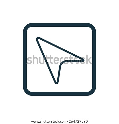 arrow cursor icon Rounded squares button, on white background  - stock vector