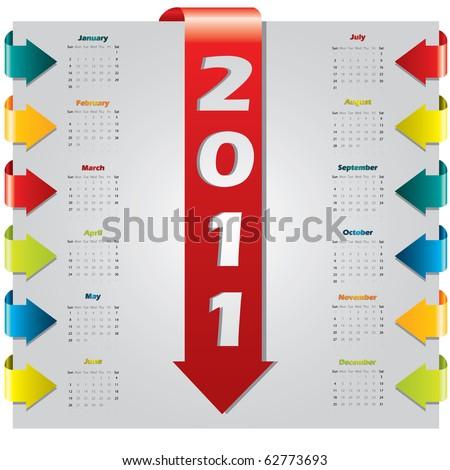 Arrow design 2011 calendar - stock vector