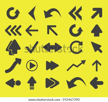 arrow, direction icons, signs set, vector - stock vector