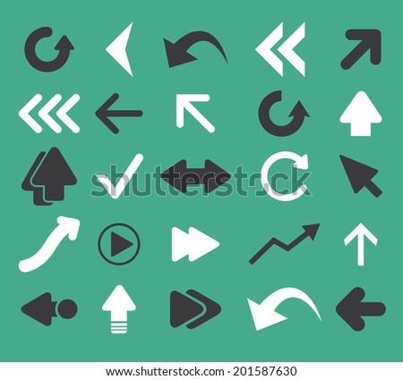 arrow, direction, pointer icons, signs set, vector - stock vector