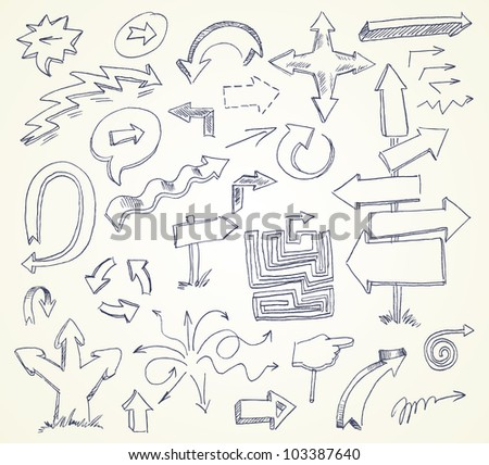 Arrow Doodles. Hand-drawn. Vector version of raster image - stock vector