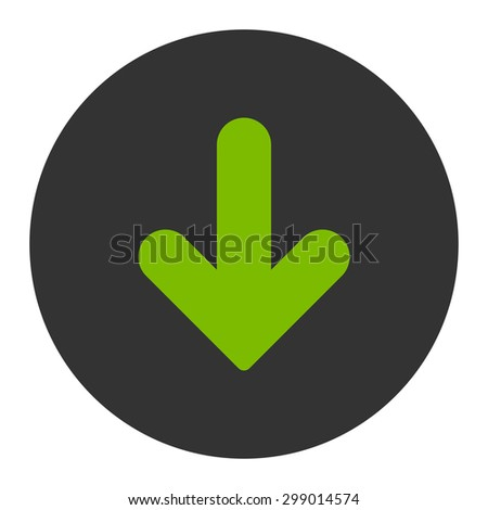 Arrow Down icon from Primitive Round Buttons OverColor Set. This round flat button is drawn with eco green and gray colors on a white background.
