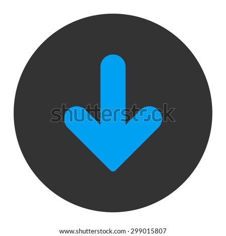 Arrow Down icon from Primitive Round Buttons OverColor Set. This round flat button is drawn with blue and gray colors on a white background.