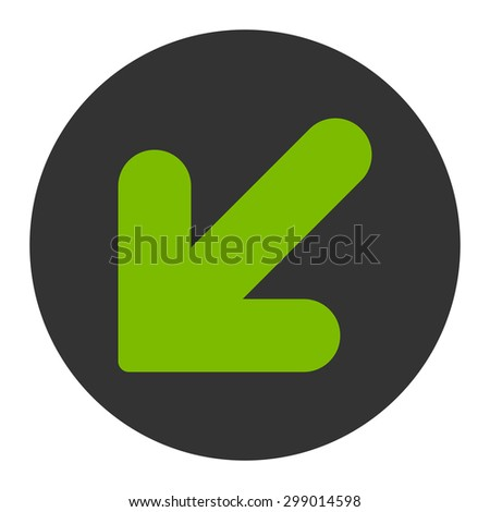 Arrow Down Left icon from Primitive Round Buttons OverColor Set. This round flat button is drawn with eco green and gray colors on a white background.