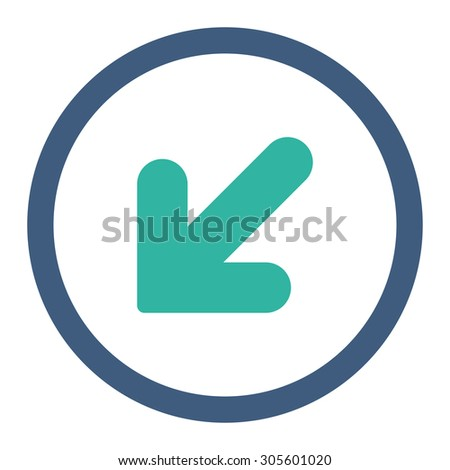 Arrow Down Left vector icon. This rounded flat symbol is drawn with cobalt and cyan colors on a white background.
