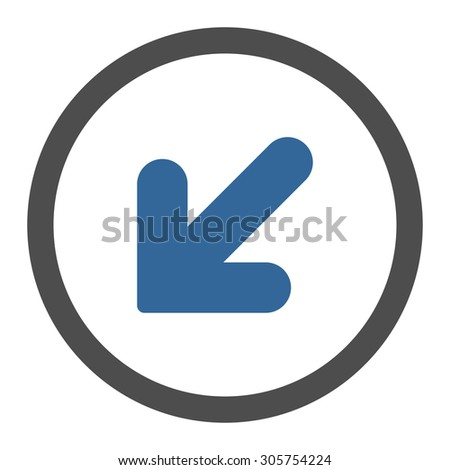 Arrow Down Left vector icon. This rounded flat symbol is drawn with cobalt and gray colors on a white background.