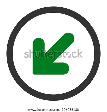 Arrow Down Left vector icon. This rounded flat symbol is drawn with green and gray colors on a white background.
