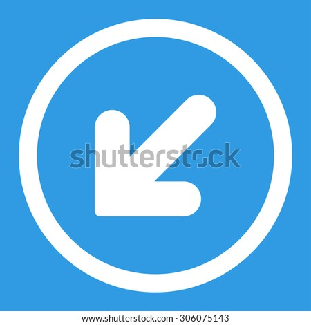 Arrow Down Left vector icon. This rounded flat symbol is drawn with white color on a blue background.