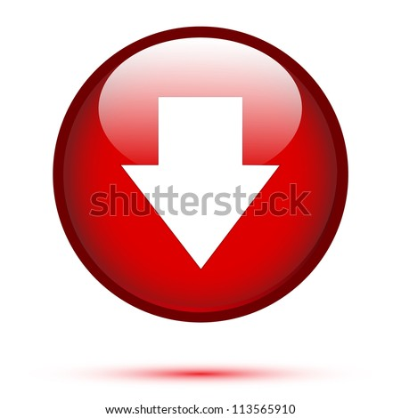 Arrow down on red button - stock vector