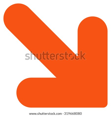 Arrow Down Right icon from Primitive Set. This isolated flat symbol is drawn with orange color on a white background, angles are rounded. - stock vector