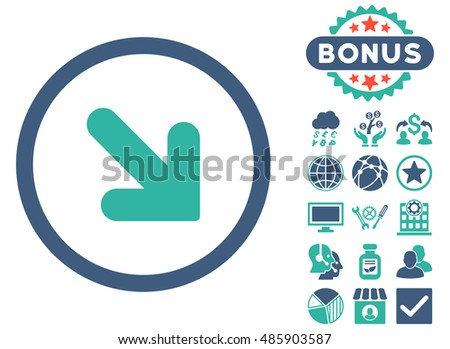 Arrow Down Right icon with bonus design elements. Vector illustration style is flat iconic bicolor symbols, cobalt and cyan colors, white background.