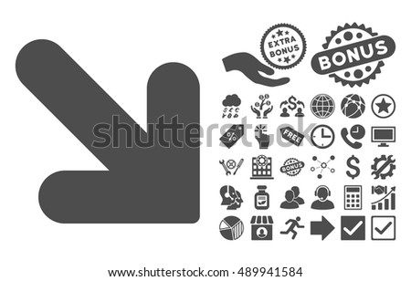 Arrow Down Right pictograph with bonus pictogram. Vector illustration style is flat iconic symbols, gray color, white background.