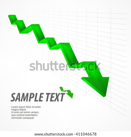 Arrow down sign. Text on white. Vector illustration. illustration