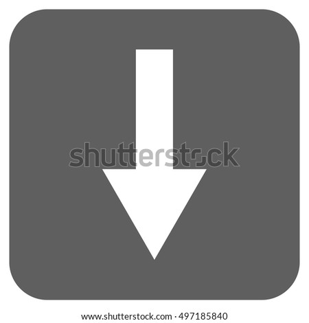 Arrow Down vector icon. Image style is a flat icon symbol inside a rounded square button, white and silver gray colors.