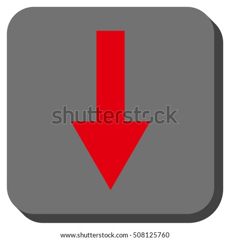 Arrow Down vector icon. Image style is a flat icon symbol on a rounded square button, red and gray colors.