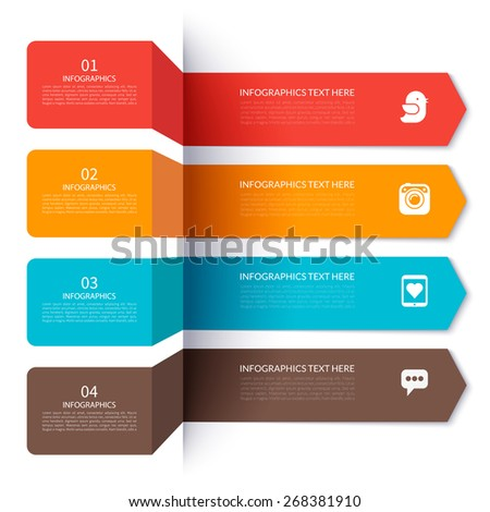 Arrow elements for infographics. Vector illustration. Can be used for brochure, number options, web design. - stock vector