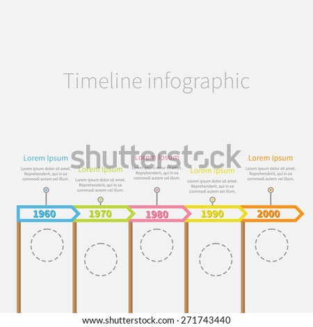 Arrow Flag on sticks Horizontal Timeline Infographic with dash line circles and text. Template. Flat design.  Vector illustration