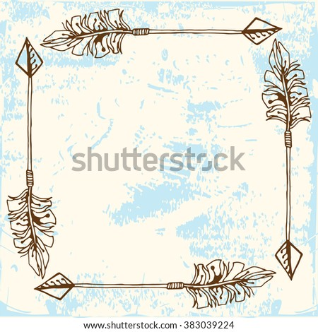 Arrow frame in boho style - Background illustration  - stock vector