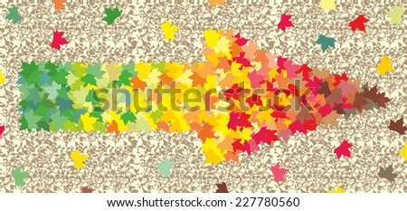 Arrow from autumn maple leaves - stock vector
