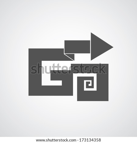 arrow go to goal ( I designed my own font )  - stock vector