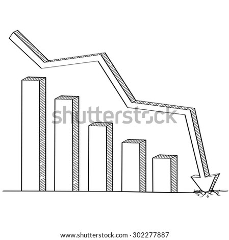 Arrow graph down line drawing, Business concept, Illustration Vector eps10