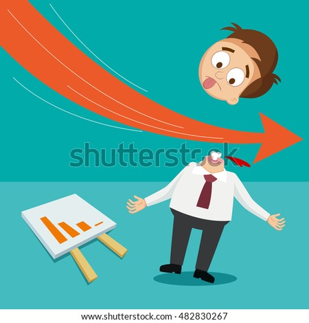 Arrow graph going down and stab businessman crisis concept, vector illustration cartoon
