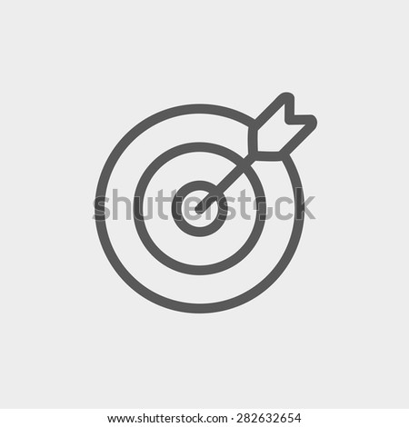Arrow hit the target icon thin line for web and mobile, modern minimalistic flat design. Vector dark grey icon on light grey background. - stock vector