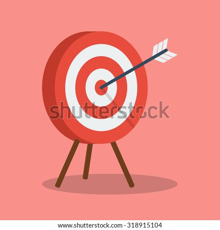 Arrow hitting target. Business concept - stock vector