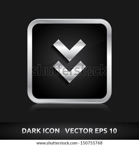 Arrow icon | color dark black silver metal grey white | icon set | abstract vector symbol | template design | shadows shiny | business button | abstract 3d - stock vector