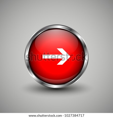 Arrow icon on red glossy button. Web vector button with shadow on grey background.