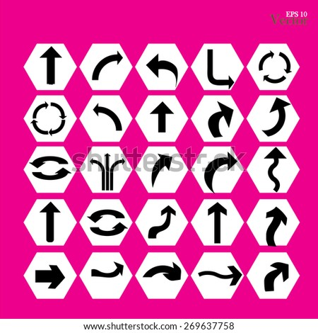 arrow icon set,arrow on pink background.arrow illustration.basic arrow.standard arrow .arrow vector.   - stock vector