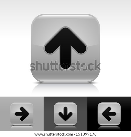 Arrow icon set gray color glossy web button with black sign. Rounded square shape with shadow, reflection on white, gray, black background. Vector illustration design element in 8 eps - stock vector